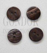 1pc Fresh Water Pearl button brown 2H 18Lx1.8mm