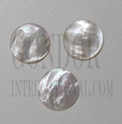 1pc White MOP polished finger button 14.5x2mm