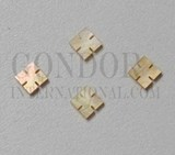 1pc Gold MOP notched squares 5x1.5mm