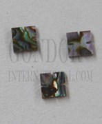 1pc Green abalone notched squares 5.5x1.5mm
