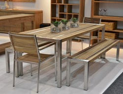 Teak Stripe Dining Table 200x90
