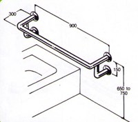 Bath rail 32mm stainless type 022