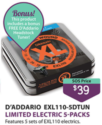 D'ADDARIO XL 10-46- Ltd Ed 5 Pack with Bonus Headstock Tuner