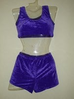 Purple Velour cropped top and shorts set Size 3 only