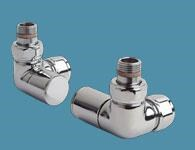 Bisque Double Angled Manual Valve Set Z in Chrome