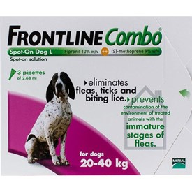 Frontline Combo Large Dogs 44-88lbs (20-40kg) - 3 Pipettes