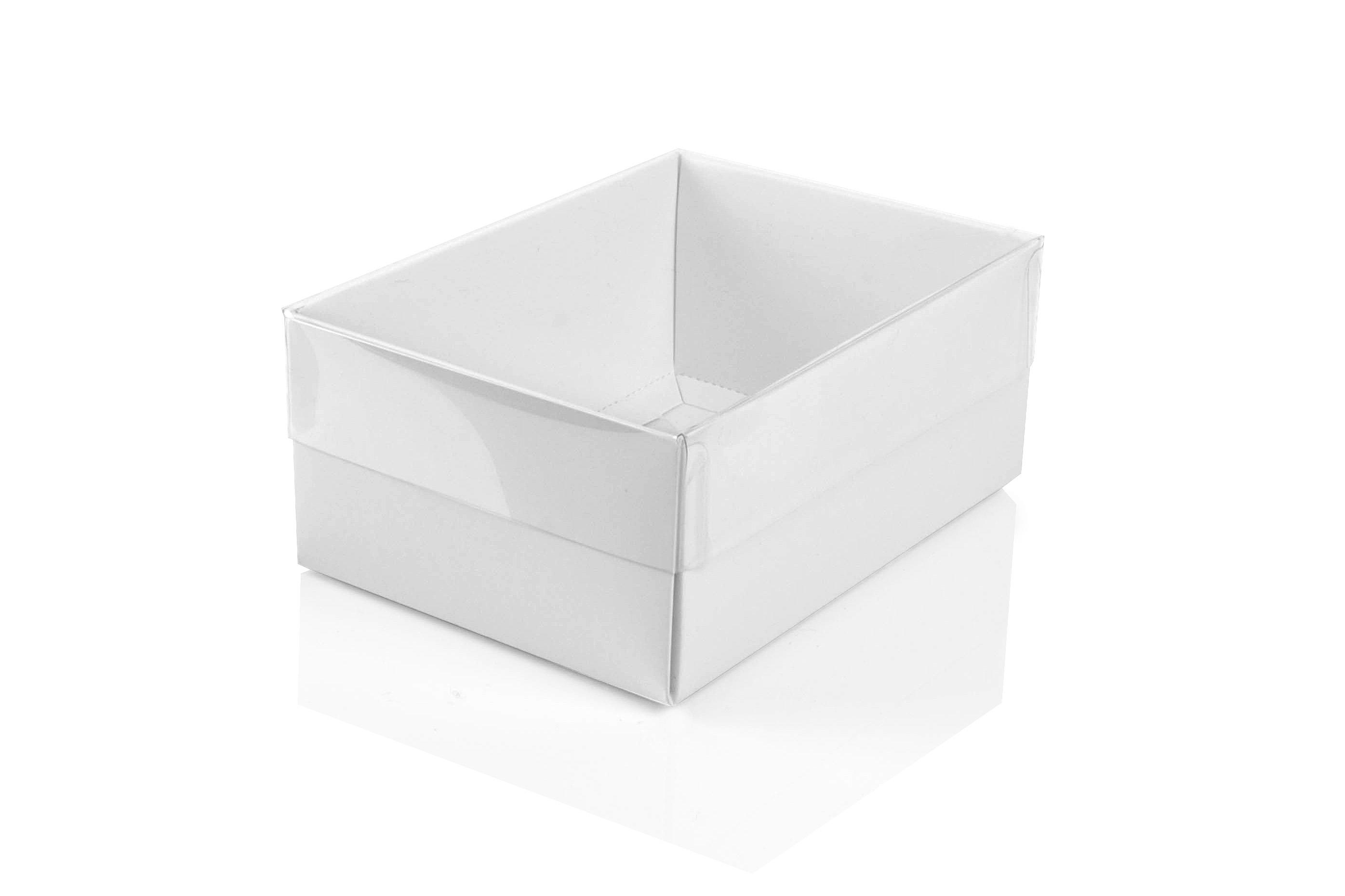 Small White Flat Packed Recycled Gift Box With Clear Lid Pack Of 50 120 X 85 X 50mm Clrwh120