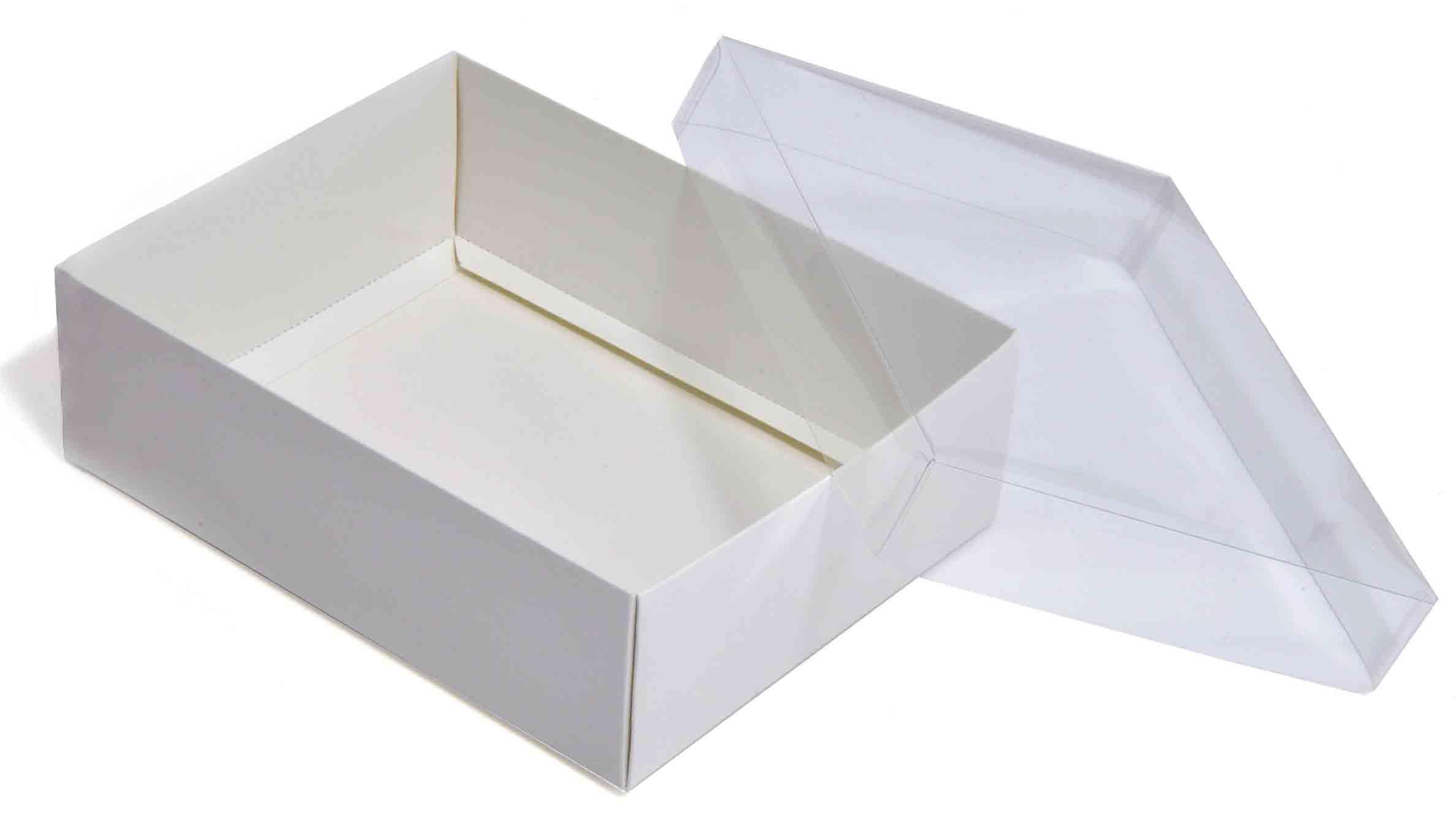 large white flat packed recycled gift box with clear lid pack of 50 165 x 125 x 50mm clrwh165. Black Bedroom Furniture Sets. Home Design Ideas