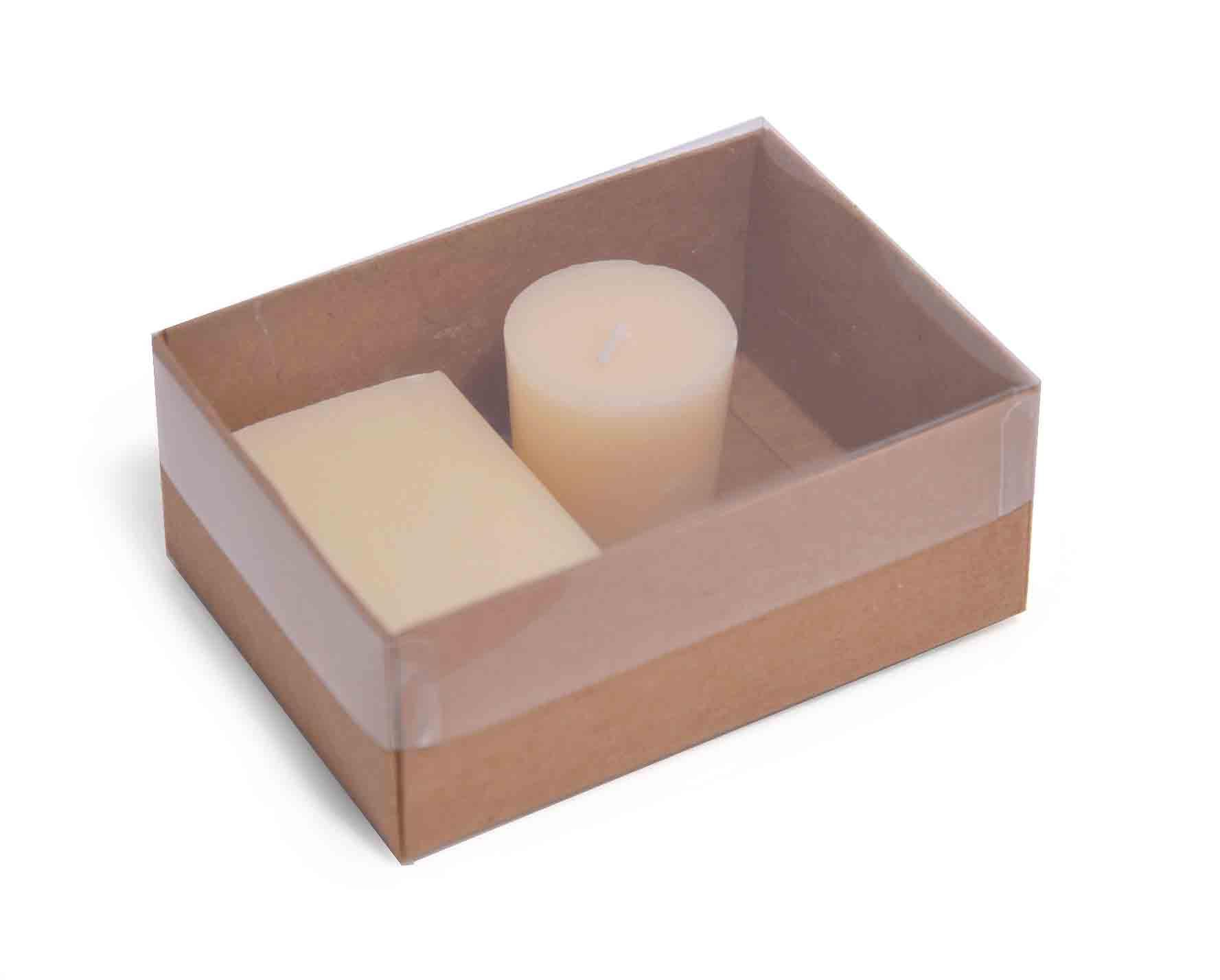 Small Kraft Flat Packed Recycled Gift Box With Clear Lid