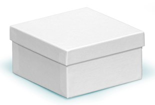 Square (deeper) white swirl recycled box 89 x 89 x 51mm (CF70/21)