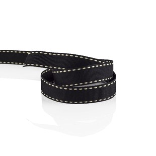 Black Grosgrain Ribbon With Cream Stitching 16mm | Stitched Grosgrain Collection