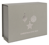 Medium Grey Christmas Eve Box with Metallic Gunmetal Baubles Print