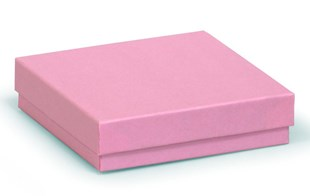 Square recycled kraft pink gift box / kraft recycled pink jewellery box 89 x 89 x 23mm (KCPI18)
