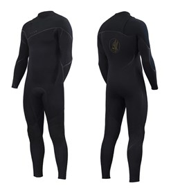 ZION WETSUITS Yeti 3/2mm Liquid S-Sealed Zipperless Steamer - Black - Winter 2018 Range