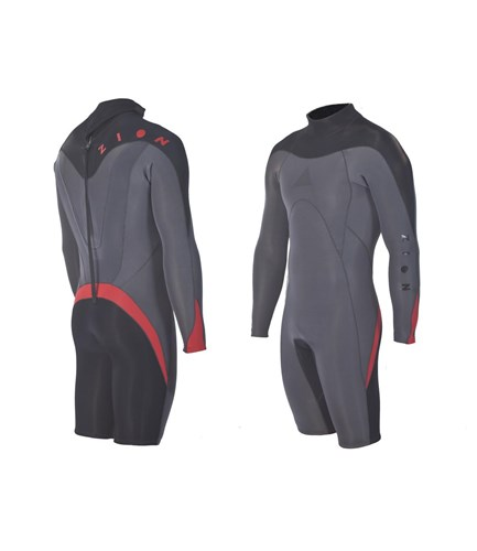 ZION WETSUITS FLUX 2/2mm GBS Long Sleeve Springsuit - Graphite/ Black/ Red