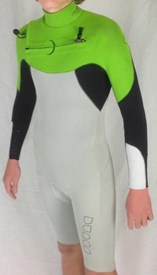 Dunes DS1 Chest Zip 2/2mm Long Sleeve Springsuit - Black/ White/ Lime