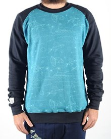 GRAND FLAVOUR Fish Out of Water Crew Neck - Aqua / Black