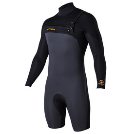 ATTICA Wetsuits - Omega GBS 2/2mm Long Sleeve Springsuit - Graphite/Black/Orange - 2017/18 Summer Range
