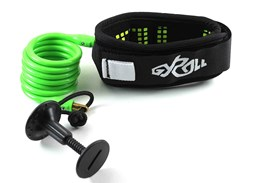 GYROLL Variable Leash Black Cuff - Fluro Green Coil