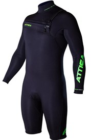ATTICA WETSUITS OMEGA GBS 2/2mm Long Sleeve SPRINGSUIT - Black/Lime - 2015 Winter