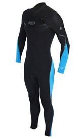 REEFLEX WETSUITS Hardy X Series 3/2mm GBS Chest Zip Steamer - Black/ Bue