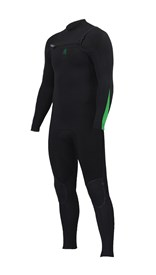 ZION WETSUITS Wesley 3/2mm GBS Chest Zip Steamer - Black/ Lime - Winter 2016 Range
