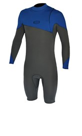 REEFLEX WETSUITS Moz Sol Zipperless 2/2mm Long Sleeve Springsuit - Graphite/ Blue - Winter 2017 Range