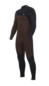 ZION WETSUITS Yeti 4/3mm Liquid S-Sealed Chest Zip Steamer - Black / Earth - Winter 2017 Range