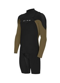 ZION WETSUITS Wesley 2/2mm Chest Zip L/S Springsuit - Black/ Caramel - Summer 2015/16 Range
