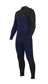 ZION WETSUITS Yeti 4/3mm Liquid S-Sealed Chest Zip Steamer - Navy/ Black - Winter 2016 Range