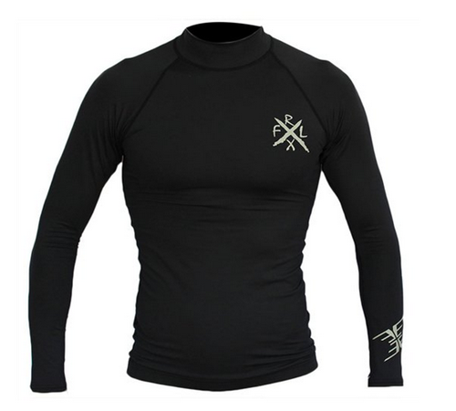 REEFLEX WETSUITS Long Sleeve Rashvest - Black (Silver Print)