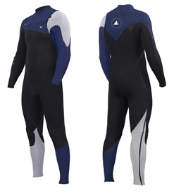 ZION WETSUITS Yeti 3/2mm Liquid S-Sealed Chest Zip Steamer - Black/ Blue/ White - 2nd Winter 2017 Range