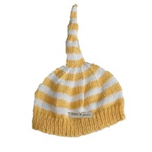 Bamboo hand knitted baby night cap - yellow