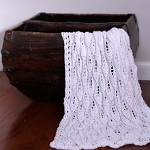Just Sprouted - Hand Knitted Blanket Leaf - White