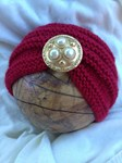 Hand Knitted Baby Turban - red