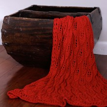 Just Sprouted - Hand Knitted Blanket Leaf - Red