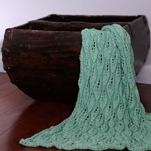 Just Sprouted - Hand Knitted Blanket Leaf - Green
