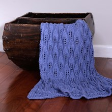 Just Sprouted - Hand Knitted Blanket Leaf - Blue