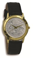 Coinwatch Contemporary Collection Silver Australian Florin with Black leather band