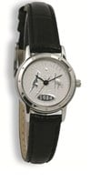 Coinwatch Contemporary Collection Womens Silver Australian Sixpence with Black leather band