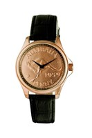 Coinwatch Lifestyle Collection Mens Rose Gold Australian Kangaroo Penny with Black leather band