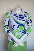 Sun Protection Blue Green Abstract Ladies Golf Shirt