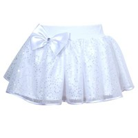 Pretty Sparkle Bow Play Tutu skirt, White (Sparkles Under Lights)