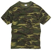 100% Cotton Basic Military Style T-shirt -Woodland