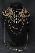 Necklace - Multi-Strand Choker - Black Pearls or White Pearls or Oxidised Beads