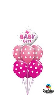 New Baby Girl Spotty Balloon Bouquet