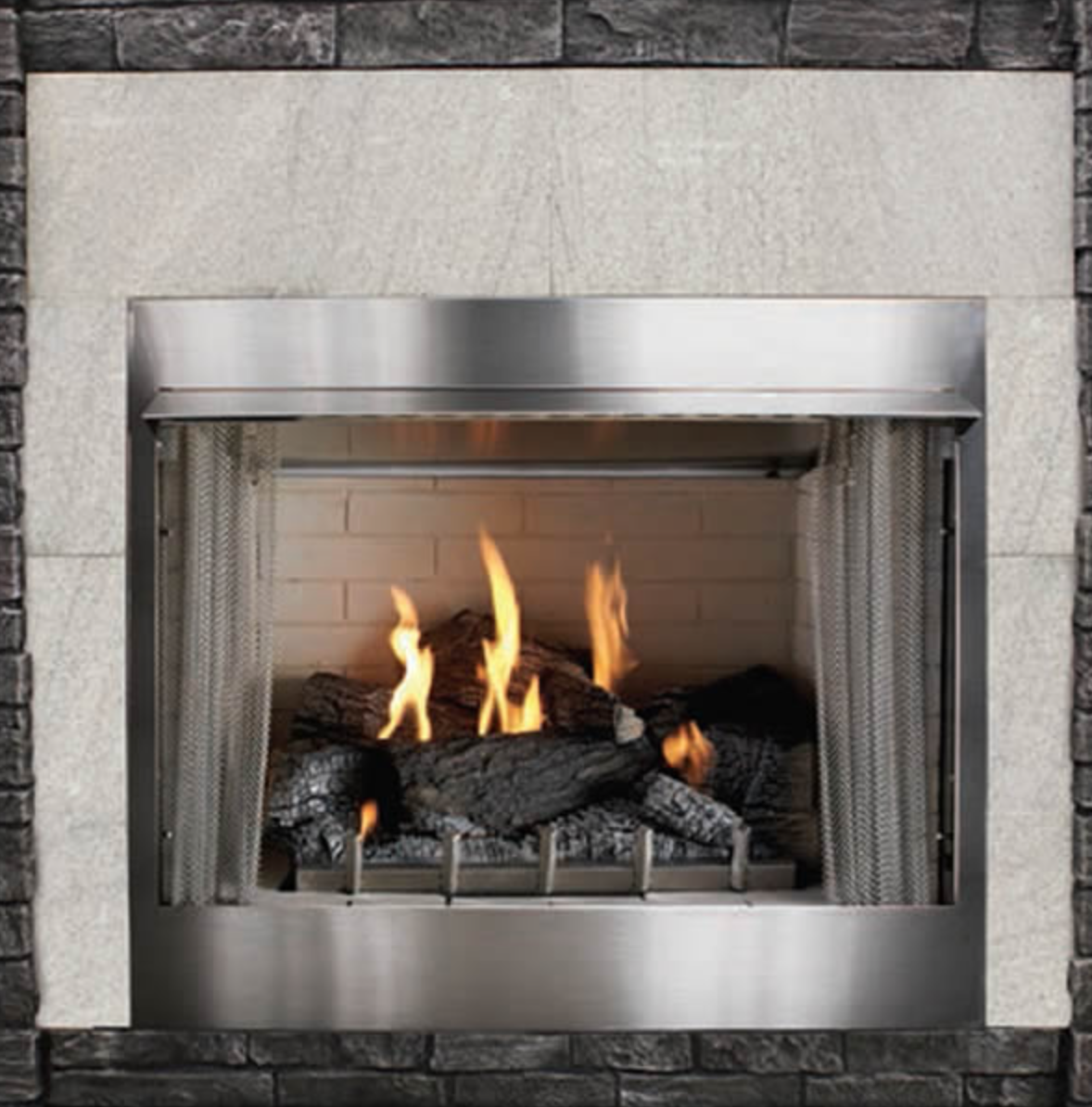 Empire Rose 36 Traditional Vent Free Stainless Steel Outdoor Fireplace Op36fp