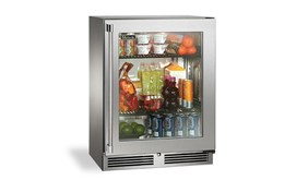 """Perlick 18""""Signature Sottile Series Indoor Refrigerator with Stainlesss Steel Glass Door- Hinge Left -HH24RS-3-3L"""
