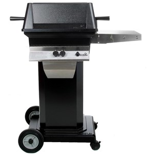 PGS A30 Cast Aluminum Natural Gas Grill on Black Portable Pedestal Base A30NG+ABPED+ANC