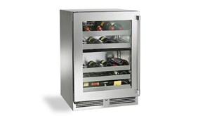 "Perlick 24"" Signature Series  Outdoor  Dual- Zone Wine Reserve With Stainless Steel Glass Door Hinge Right - HP24DO-3-3R"
